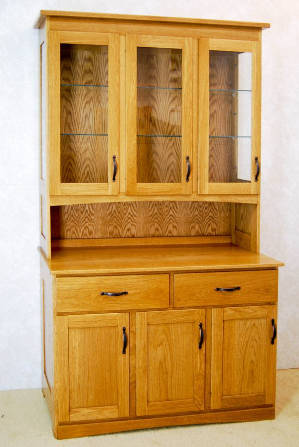 3 Door Oak China Hutch - De Vries Woodcrafters