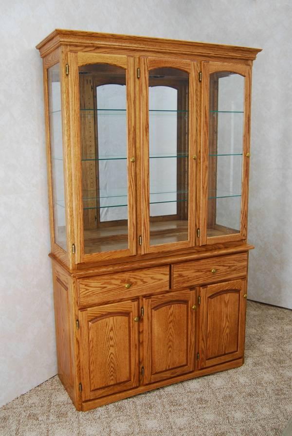 3 Door Oak China Hutch
