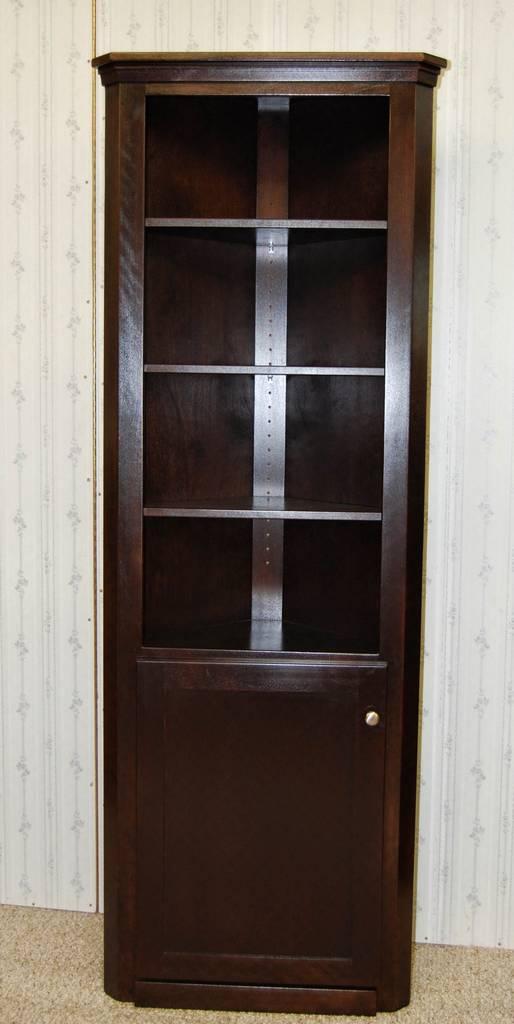 Corner Curio Cabinet In Espresso De Vries Woodcrafters