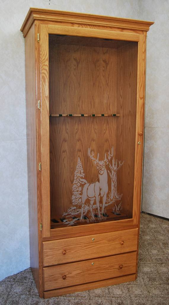 Gun Cabinet With Decorative Glass