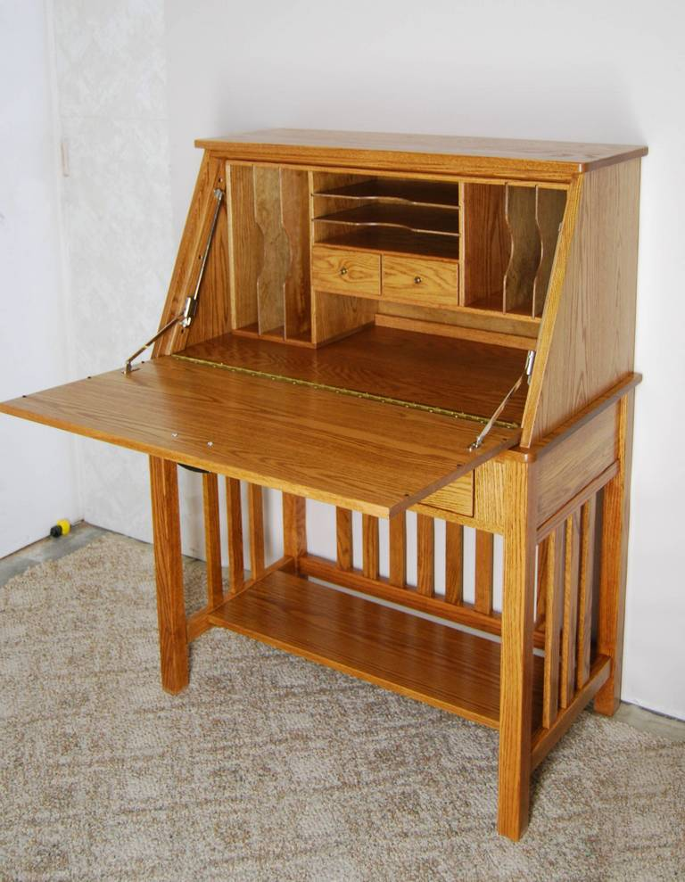 Oak Secretary Desk - De Vries Woodcrafters