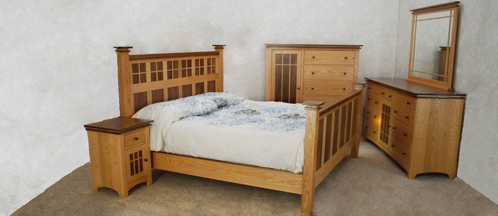 Oak & Walnut Bedroom Set - De Vries Woodcrafters