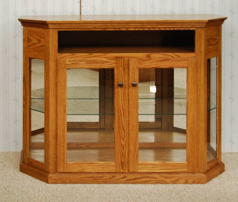 Short Angled Corner Curio Cabinet De Vries Woodcrafters